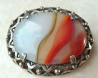 Vintage Miracle Art Glass Agate Brooch